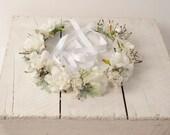 Wedding Floral Headband, Sage Green and White Head Piece, Woodland Flower Crown, Bridal Hair Piece, Head Wreath Halo, Circlet Headpiece