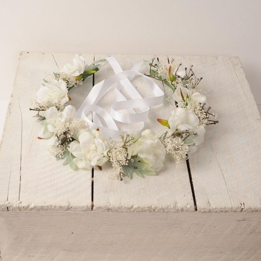 Wedding White Flower Crown: White Wedding Flower Crown Bridal Headband Rustic Hair Piece