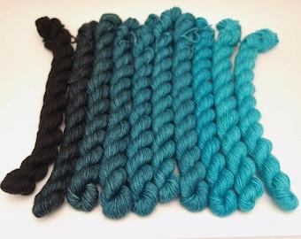 Gradient Set, Hand Dyed Fingering/Sock Knitting Yarn, Superwash Merino Wool, Silk, Cashmere, 500 Yards, Squall