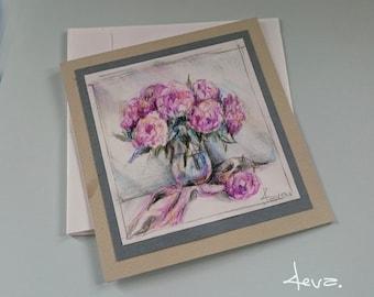 Handmade Greetings Card, Pink peony, Anniversary, Real crayons draving, Wedding,Valentines, Not print,Blank Card