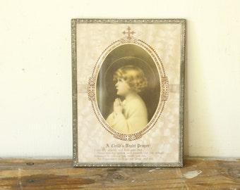 Antique Framed Prayer Sentiment A Child's Night Prayer Collectible Lithograph Vintage Wall Art
