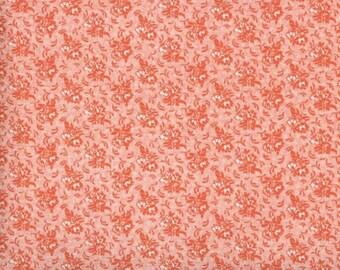 Floral Fabric, Quilters Calicos, Orange Floral Fabric, Orange Roses, Orange Fabric, Vintage Floral