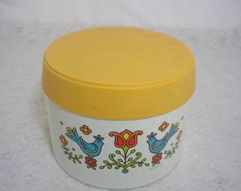 Vintage Corning Cheinco Small Canister Blue Bird Friendship 1975