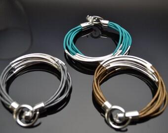 Leather Bracelet, Leather & Silver Bracelet, 8 Cord Bracelet w/ Silver Tubes, Leather Bracelet w/ Swirl Clasp