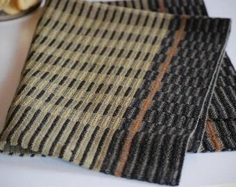 Handwoven Tea Towel- Midnight Stripes Suede