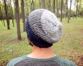 Knit Mens Beanie Warm Slouchy Hat Guys Knitted Hats Handmade Gifts Boyfriend Gift Ideas Husband Present Winter Cap Men Accessories Blue Caps
