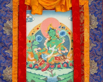Green Tara Thangka Painting, Tibetan Thangka, Buddhist Mandala Art, Buddhist Meditation, Altar, Buddha, Tibet, India, Nepal