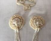 Antique Pearled Pasties with Art Deco applique and tassle.