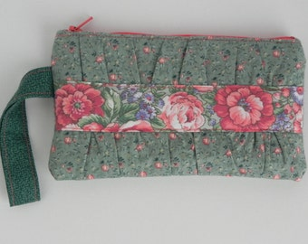 Green and Peach Gathered Clutch (with wrist strap)