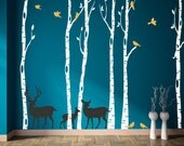 Birch Tree Decals Set of Six with Deer Family and Birds, REUSABLE Fabric Ecofriendly NO PVCs Decals