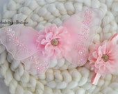 Light Pink Baby Wings Headband or Flower Crown - Newborn Photo Prop Luxe Baby Wings Photography Prop Glitter Wings