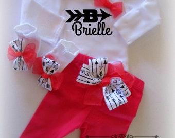 Newborn baby girl take home Custom Onesie outfit, Baby girl pants onesie socks headbands,baby girl take home outfit,girl take me home set