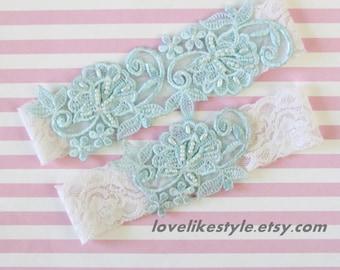 Light Blue Pearl Beaded Lace with Ivory Stretch Lace Wedding Garter Set ,Toss Garter , Keepsake Garter, Something Blue  / GT-52