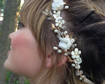 Gold Bridal Headpiece, Ivory Flower Crown, Bridal Hair Vine, Wedding Hair Flower, Pearl Hair Vine, Rustic Wedding Hair Accessories