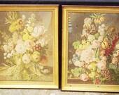 Hollywood Regency Elegant Gold Leaf Floral Pictures - Pair