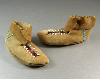 Native American Plains Beaded Baby Moccasins / Unisex Infant Doll / Tourist