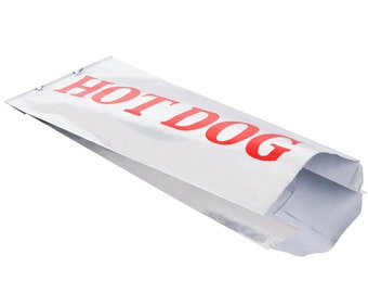 """Hot Dog Bag, Foil Paper Lined Vintage Style,25  Retro Style, Red, Gusseted 3 1/2"""" x 1 1/2"""" x 9"""", Carnival / Circus Party"""