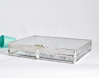 Clear Textured Glass Box Photo Display Box Jewelry Box, Gift For Her, Gift For  Bridesmaid, Wedding Photo Box