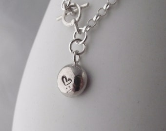 Unique Handmade Solid Sterling Silver Bubble Personalised Nugget Charm Bracelet