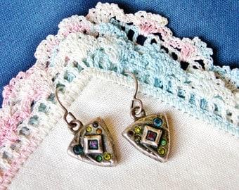 Petite Multi Color Stone Antiqued Silver Tone Pierced Dangle Earrings