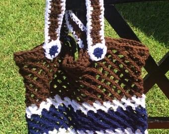 Brown and Blue Market Beach Fun Bag Handmade