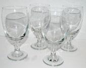 sale hand blown glass goblets optic stem  large wine glasses vintage glass