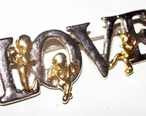"""Love Brooch Valentines Day Silver & Gold Metal Bar Style Letters Angels 2"""" Vintage"""