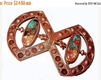 """Copper Native American Brooch Pin Blue Gold Foil Glass Inlay BIG 3"""" Vintage 1950s-60s"""