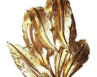 "Leaf Brooch Pin Signed JJ Jonet Jewels Abstract Cut Work Gold Metal 2"" Vintage"