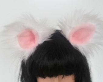 Cat Ears-White Cat Ears- Faux Fur- Kitty Ears-Harajuku-Mori Kei-Halloween-Cat Costume-Anime-Cosplay-
