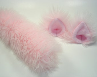 Cat Ears And Tail-Cat Costume-Harajuku-Hime-Lolita-Cat Ears- Cat Tail-Halloween-Cosplay-Anime-Fuzzy Cat Ears -Pink - Cat Birthday Party