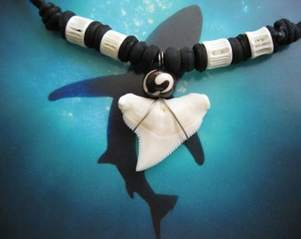 "Shark Tooth Necklace, Modern day Bull Shark tooth, Adjustable cord 16"" to 26"", Stainless Steel wire wrap"
