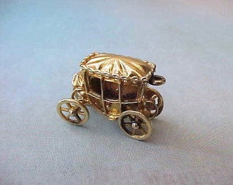 Darling Little Gold over Sterling Royal Coach Charm or Pendant