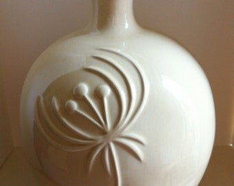 SALE Take 15% Off, Mid Century CALIFORNIA Pottery Vase, 1950's Jenkins Ceramics, White