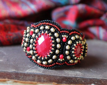 Bead Embroidery Bracelet Red Gold Black Bracelet Cuff Bracelet Beaded Bracelet Cabochon Bracelet Luxury Boho jewelry Bright Colorful