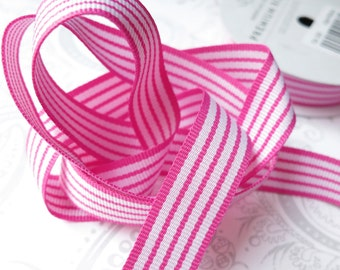 Pink Stripe Grosgrain Ribbon 5/8 -- 4 yards -- American Crafts -- Taffy -- 58301 -- 16mm
