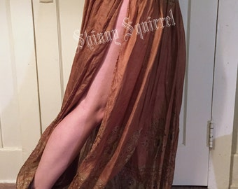 Upcycled silk sari open side harem pants ATS tribal bellydance renaissance gypsy