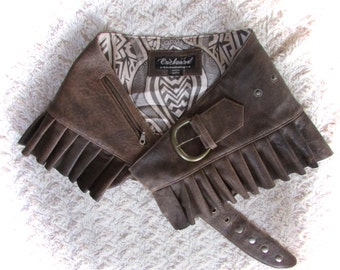 DISTRESSED Brown  leather steampunk leather mini skirt wrap around leather ruffled steampunk skirt