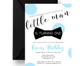 Bow Tie Birthday Party Invitations Little Man 1st Party Invites Cake Smash, Black Stripe Party Printable or Printed Invite (LITTBOWI)