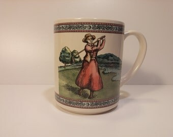 Vintage 1992 Victorian Era Woman Golfer Tea Mug, Coffee Mug - Vintage Kitchen, Vintage Coffee, Vintage Tea