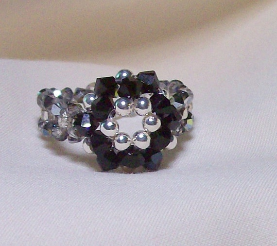 Ring/Black & silver crystal woven flower ring/3,4 mm Swarovski crystals/2 mm silver seed beads/size 10/FREE SHIPPING USA orders only