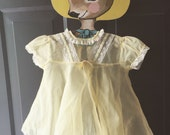 Vintage yellow sheer swiss dot party dress 12-18 months