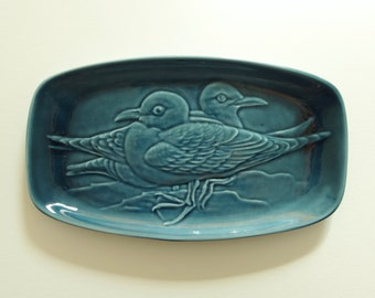 POOLE SEAGULL DISH - Made by Poole Pottery in Dorset, England - Teal Blue Ceramic Dish with Birds in Raised Relief