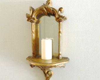 Vintage Mirrored Shelf Sconce Wood Gold Ornate