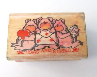 Hogs and Kisses Rubber Stamp Wood Back Used Vintage, Pigs and Hearts Hand Stamp