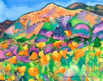 California Poppy Hills Landscape Painting, Floral Hillside Mountain, Colorful Outdoor Watercolor Print