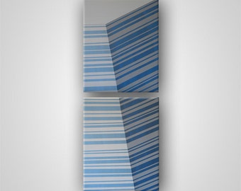 Edge (Series) in Blue Gray, Diptych, Two Stretched Canvas Panels (each 16in x 20in)