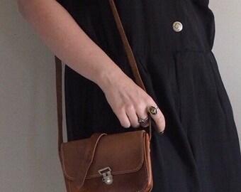 Leather Crossbody bag, Vintage Satchel Handbag from Greece