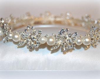 Regal Bridal Circlet Halo, Beaded Wedding Headpiece, Brides Hair piece, Gothic, Fairy Elven Headdress White Pearls Hair Accessories Frozen