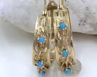 Vintage 14K Gold Turquoise Hoop Earrings, Gold and Turquoise Hoop Earrings